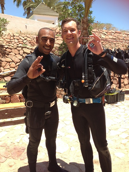 South African diver JJ with his budyy, Instructor Khaled