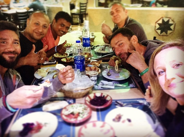 Dinner Egypt style, with new diving friends
